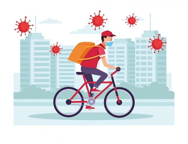 Kurier w usłudze dostawy rowerów