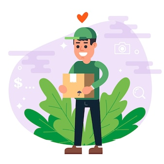 Kurier w zielonym mundurze dostarcza paczkę. uśmiechnięty mężczyzna. ilustracja wektorowa płaskie.
