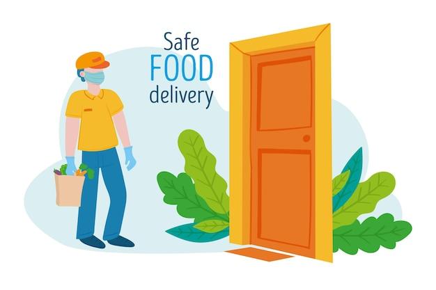 Kurier z bezpieczną dostawą żywności przy drzwiach
