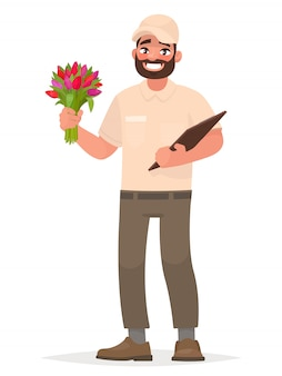 Kurier z bukietem pięknych kwiatów