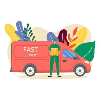 Kurier z ciężarówką trzymający w ręku paczkę gotową do szybkiej dostawy do odbiorcy, odizolowany. koncepcja usługi dostawy online.