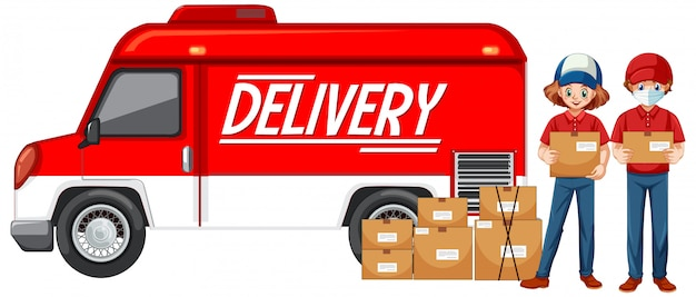 Kurier z samochodem dostawczym lub ciężarówką