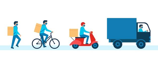 Kurier z towarem pudełkowym, dostawca w masce oddechowej. pieszy, rower, skuter, kurier samochodowy. usługa dostawy online, dostawa do domu. ilustracja