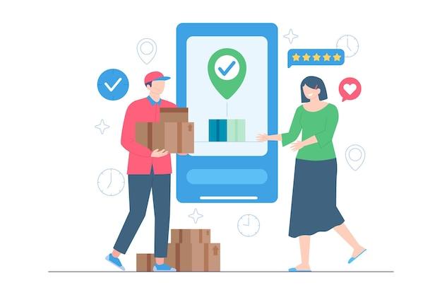 Kurierzy dostarczają paczki do ilustracji klientów