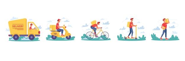 Kurierzy dostarczający paczki na rowerze