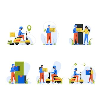 Kurierzy jeżdżą na motocyklach i dostarczają towary do scen scen dla klientów