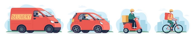 Kurierzy w masce medycznej na rowerze, motorowerze, samochodzie elektrycznym i furgonetce dokonują dostaw