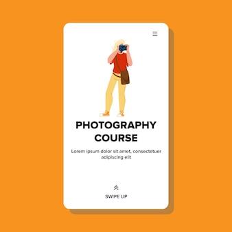 Kurs fotografii student uczenia się wektor lekcji. młoda kobieta fotograf kształci na kursie fotografii i dokonać ćwiczeń, fotografując w aparacie. charakter web ilustracja kreskówka płaska