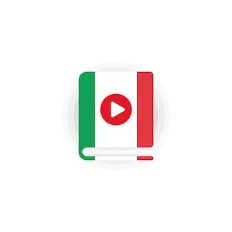 Kurs języka włoskiego audiobooki ikona. słownik włoski. kształcenie na odległość. seminarium internetowe online. wektor eps 10. na białym tle.