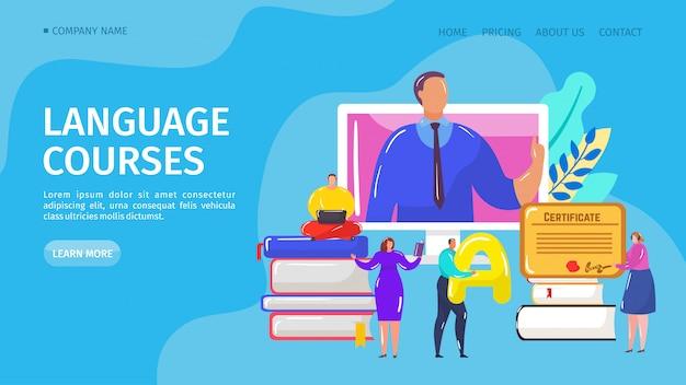 Kurs językowy online, ilustracja do lądowania. internetowa szkoła na odległość do nauki języka obcego przy komputerze. student