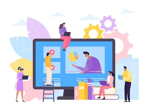 Kurs online do nauki wideo na ilustracji ekranu komputera