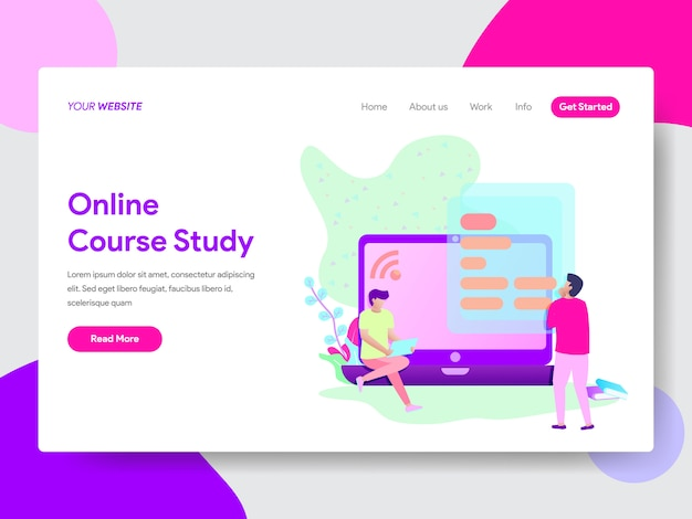 Kurs online student illustration concept for web pages