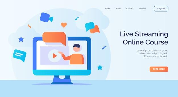 Kurs online z transmisją strumieniową na żywo dla strony głównej witryny internetowej kampanii szablon strony docelowej z wypełnionym kolorem nowoczesnym stylu płaskiego.