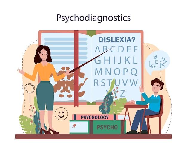 Kurs psychologii szkolnej. badanie zdrowia psychicznego i emocjonalnego. psycholog szkolny poradnictwo dla dzieci i rodziców. ilustracja na białym tle płaski wektor