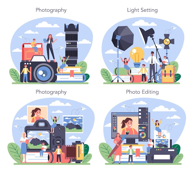 Kurs szkolny fotografii zestaw ilustracji