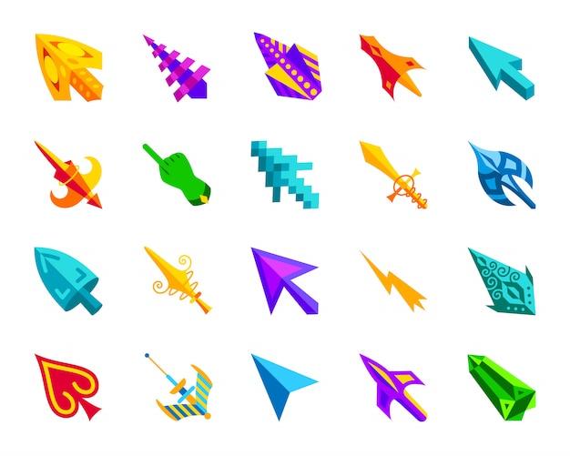 Kursor myszy, kliknij zestaw ikon płaskich strzałek, kolorowy znak wskaźnik kreskówki do gier.