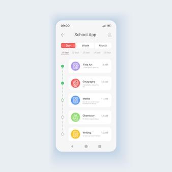 Kursy edukacyjne menu szablon wektor interfejsu smartfona w trybie dziennym