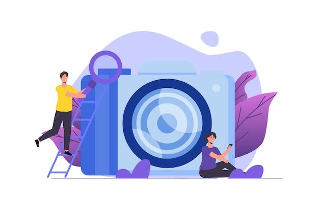 Kursy fotograficzne lub zajęcia, tutoriale, koncepcja warsztatów. ilustracja wektorowa