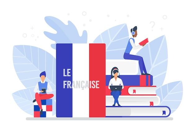 Kursy języka francuskiego online, zdalna szkoła lub koncepcja uniwersytetu