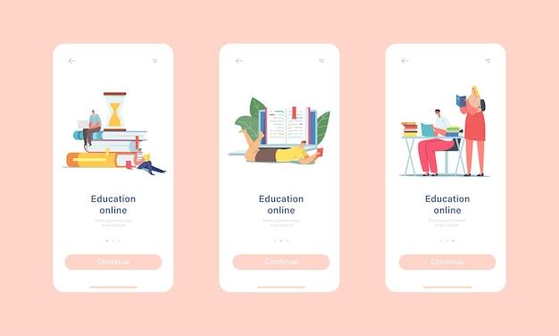 Kursy na odległość, edukacja online szablon ekranu aplikacji mobilnej na pokładzie. małe postacie studentów studiujących na ogromnej stercie książek za pomocą laptopa do koncepcji lekcji. ilustracja wektorowa kreskówka ludzie