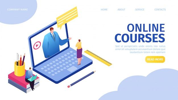 Kursy online e-learning dla osób na odległość przez internet ilustracja strony docelowej. odległe wykształcenie, nauczyciel mężczyzna na ekranie laptopa, kobieta oglądająca kurs online. koncepcja samouczków internetowych.