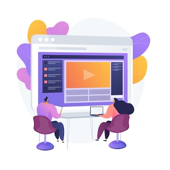 Kursy online. kolorowe postaci z kreskówek oglądające samouczek wideo, seminarium biznesowe. elearning, webinarium, nauka online. studia zdalne. ilustracja wektorowa na białym tle koncepcja metafora