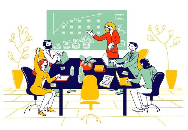 Kursy w szkole finansowej lub posiedzenie rady przedsiębiorców. płaskie ilustracja kreskówka