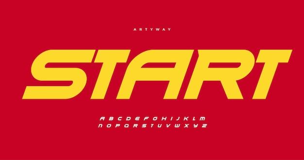 Kursywa pogrubiona czcionka alfabetu z nowoczesnymi, ostrymi kątami, dynamicznymi literami dla sportowego nagłówka wyścigowego logo