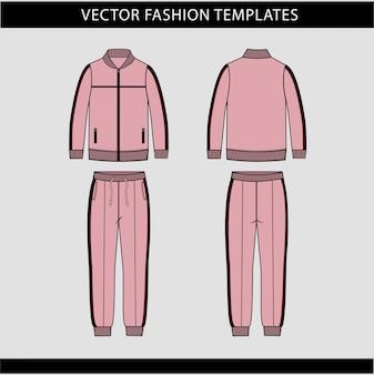 Kurtka i spodnie dresowe moda płaski szablon szkicu, strój do biegania z przodu iz tyłu, strój sportowy