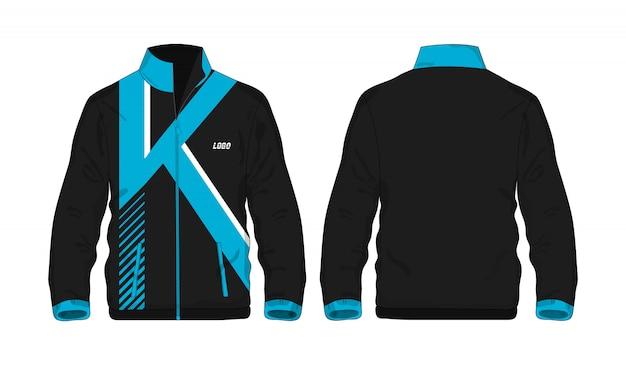 Kurtka sportowa niebiesko-czarny szablon dla projektu.