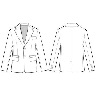 Kurtka zewnętrzna moda szablon płaski szkic