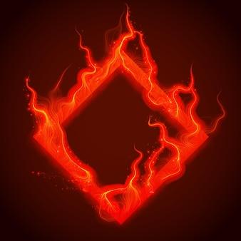 Kwadrat czerwonego ognia z iskrami