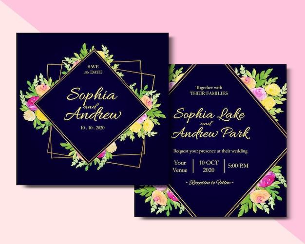 Kwadrat karta kwiatowy zaproszenie akwarela