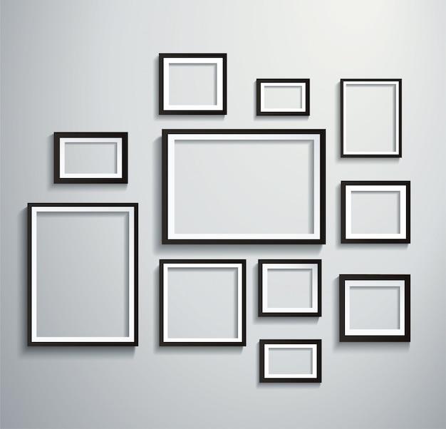 Kwadrat na białym tle ramki na zdjęcia na ścianie