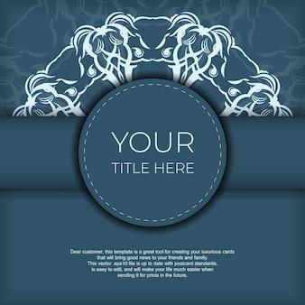 Kwadrat przygotowanie niebieskiej pocztówki z luksusowym lekkim ornamentem. szablon do druku zaproszenia do druku z rocznika wzorów.