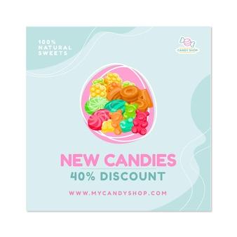 Kwadrat ulotki sklepu ze słodyczami