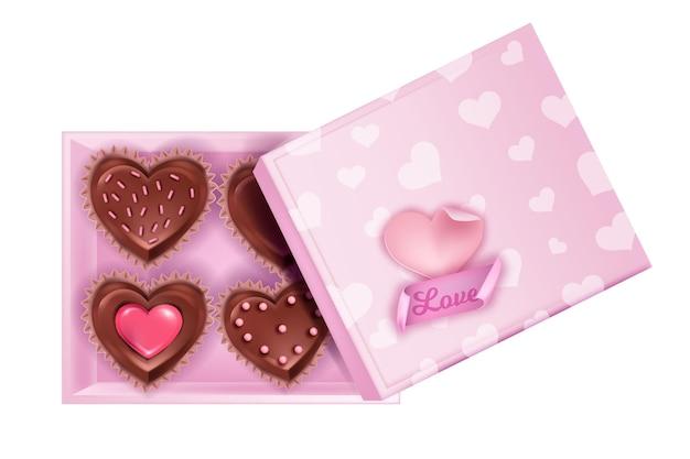 Kwadrat walentynkowy otwarty układ czekoladowych cukierków ze słodyczami w kształcie serca, ciastami, pokrywką. wakacyjna luty romantyczna niespodzianka ilustracja z babeczkami, deserem, naklejką miłosną. pudełko cukierków różowe