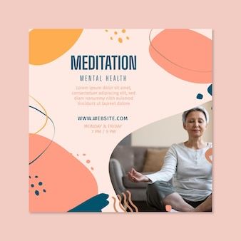 Kwadrat z ulotkami medytacji i uważności