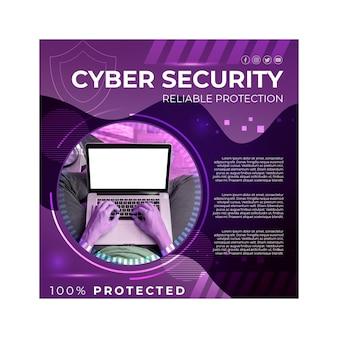 Kwadrat z ulotkami na temat bezpieczeństwa cybernetycznego