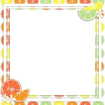 Kwadratowa biała rama i prostokąt etykietka na cytrusa owoc tle