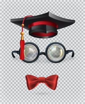 Kwadratowa czapka akademicka, deska do zaprawy murarskiej, okulary i muszka