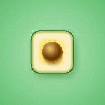 Kwadratowa ikona awokado na na białym tle zielonym