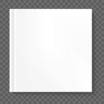 Kwadratowa okładka książki na przezroczystym tle. a także zawiera