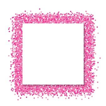 Kwadratowa papierowa rama na brokatowym różowym tle.