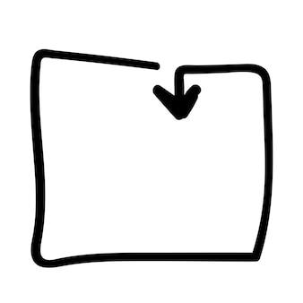 Kwadratowa rama strzałka dla infografiki doodle ręka rysunek szkic wektor ilustracja element