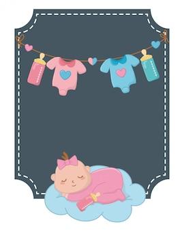 Kwadratowa rama z dziecko sypialną ilustracją