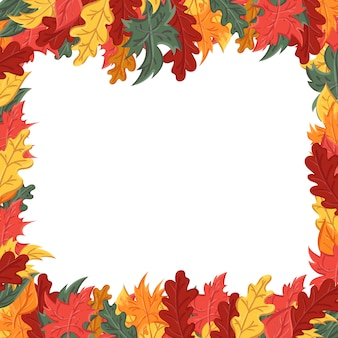Kwadratowa rama z jesiennych liści. tło z wizerunkiem liścia.