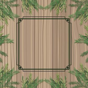 Kwadratowa rama z ziołowym i drewnianym tłem