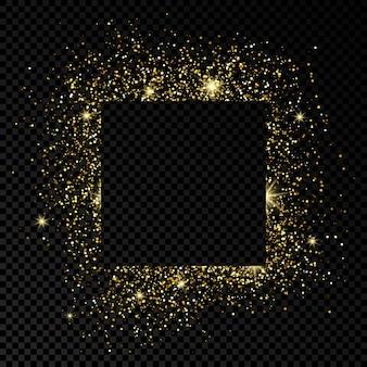 Kwadratowa rama ze złotym brokatem na ciemnym przezroczystym tle. puste białe tło. ilustracja wektorowa.