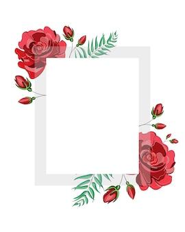 Kwadratowa ramka czerwonych kwiatów róży z kwadratową białą przezroczystą ramką na tekst